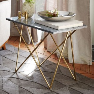 Marble-and-brass-side-table